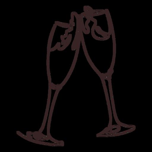Diseño de dibujo de línea de saludos de champán