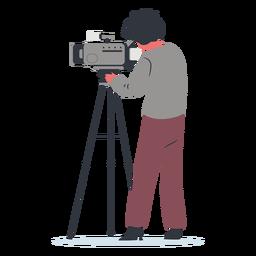 Vista lateral de ilustración de camarógrafo de personaje