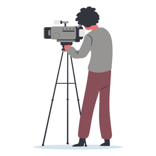 Character cameraman illustration side view