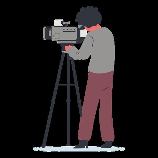 Vista lateral da ilustração do cinegrafista do personagem