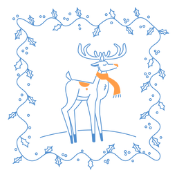 Weihnachtsrahmen und eleganter Hirsch