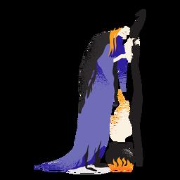 Personaje clásico de caldero de bruja