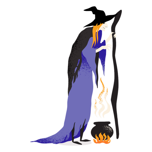 Classic witch cauldron character