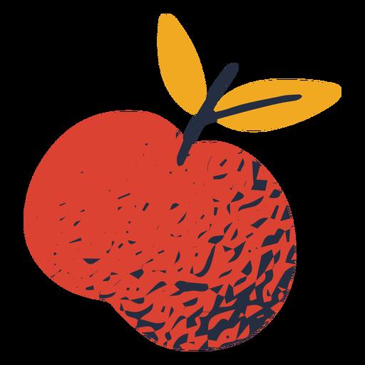Ilustración colorida de manzana frondosa