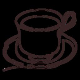 Dibujo de línea de bebida caliente de taza