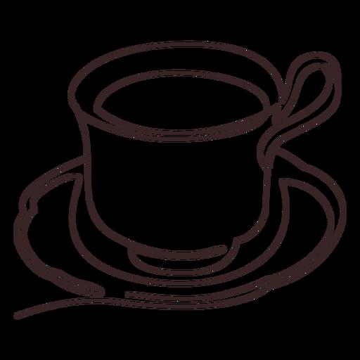 Dibujo lineal de taza de bebida caliente