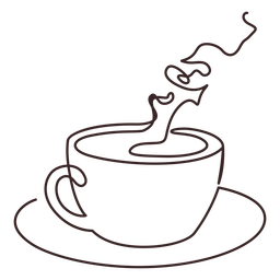 Cup of fragant coffee line drawing