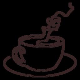Taza de dibujo lineal de café fragante