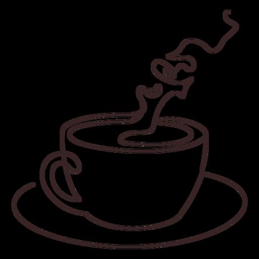 Desenho de linha de xícara de café aromatizado