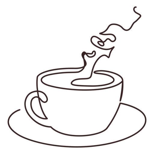 Taza de dibujo de líneas de café fragante Transparent PNG