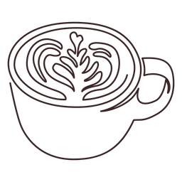 Cup with latte arte line drawing