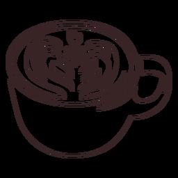Tasse mit Latte Arte Strichzeichnung