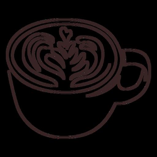 Taza con dibujo lineal de latte arte