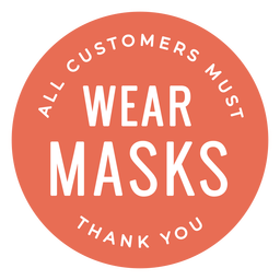 Customers wear masks store sign