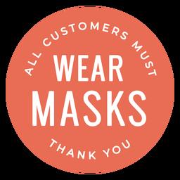 Los clientes llevan signo de tienda de máscaras
