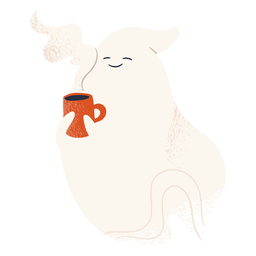 Cute ghost character drinking coffee
