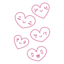 Cute hearts with faces flat