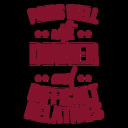 Jantar e saco de parentes difícil vinho
