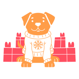 Dog wearing christmas sweater