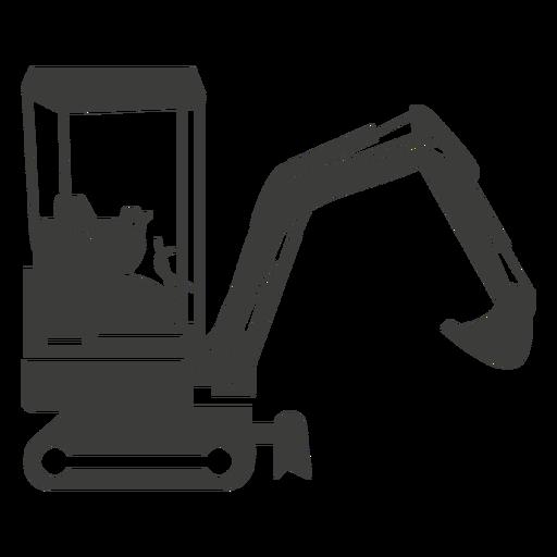 Silhueta de máquinas de construção de escavadeira