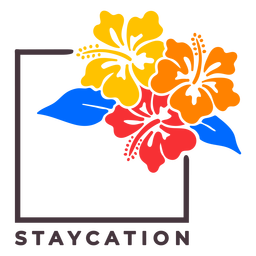 Flowery staycation badge