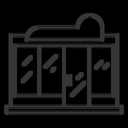 Trazo de tienda de ventana de vidrio sin marco
