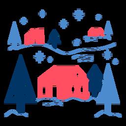 Geometrische Häuser unter Schnee