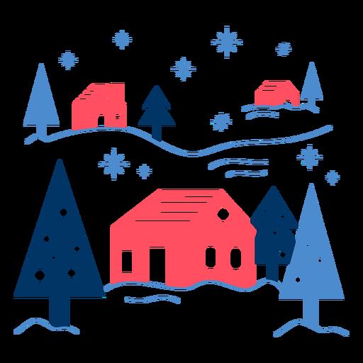 Casas geométricas bajo la nieve.