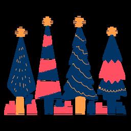 Árboles y regalos geométricos