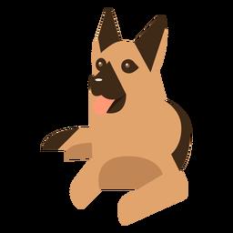 Deutscher Schäferhund, der Hund geometrisch legt