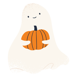 Ghost character and pumpkin