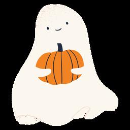 Personaje fantasma y calabaza
