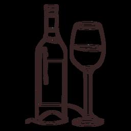 Curso de desenho de linha de garrafa de vidro e vinho