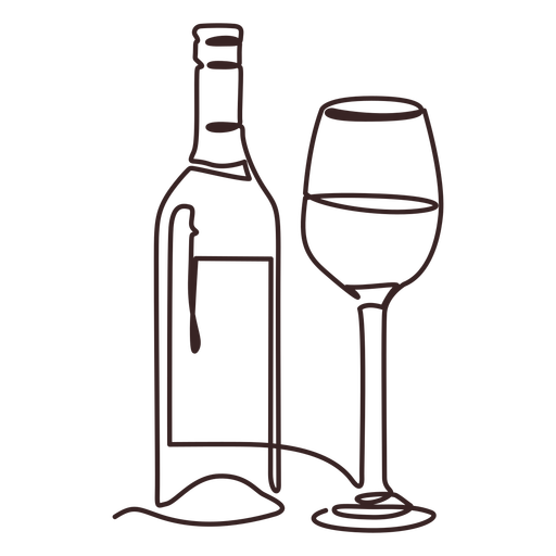 Glass and wine bottle line drawing stroke