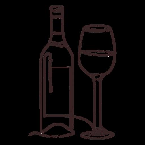 Trazo de dibujo lineal de botellas de vidrio y vino