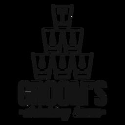 Cita de vasos del equipo para beber del novio
