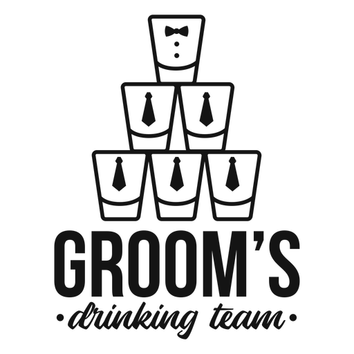 Groom's drinking team glasses quote