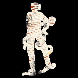 Personaje de pie de momia de Halloween