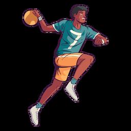 Jogador de handebol homem com bola