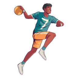 Jugador de balonmano con pelota