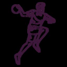 Jugador de balonmano hombre con bola dibujada a mano