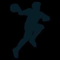 Jugador de balonmano hombre con silueta de bola