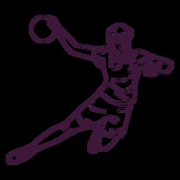 Jugador de balonmano en acción dibujado a mano