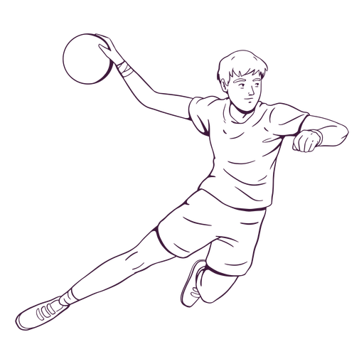 Handball player in action hand drawn