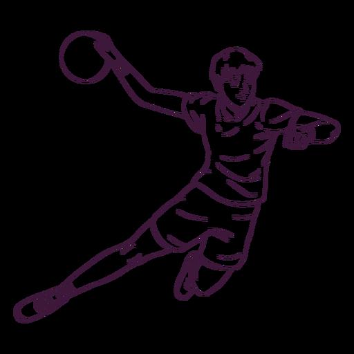 Jugador de balonmano en acción dibujado a mano Transparent PNG