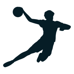Handball player in action silhouette
