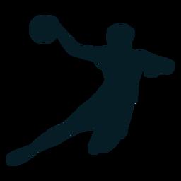 Jugador de balonmano en silueta de acción