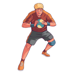 Handball player man character