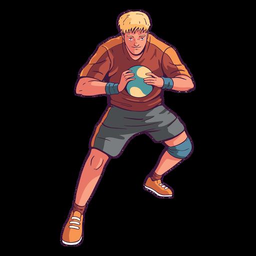 Car?cter de hombre de jugador de balonmano