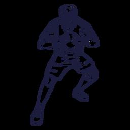 Handball player man character hand drawn